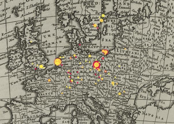 Komenského korespondence na pozadí historické mapy